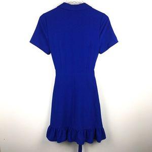 Charles Henry Dresses - Short Sleeve Collar Ruffle Wrap Dress